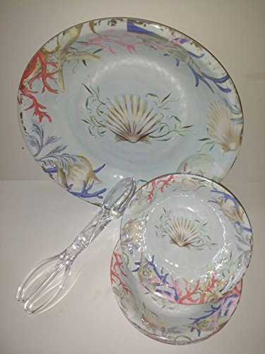 Nantucket Home Colorful Coral Reef Heavyweight Melamine Salad Bowl Set - Service for 6 ()