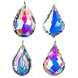 H&D Colorful Crystal Chandelier Crystals Hanging Lamp Prisms Sun Catcher 76mm,Pack of 4