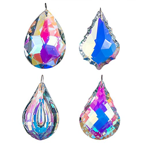 H D Colorful Crystal Chandelier Crystals Hanging Lamp Prisms Sun Catcher 76Mm Pack Of 4