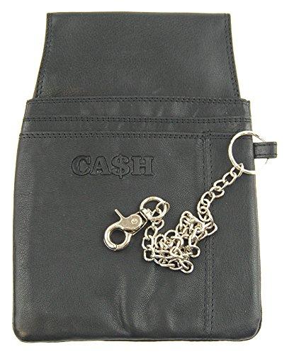 """NB24 Versand Holster für Kellnerbörse (5621mK) """"CA$H"""" für Damen und Herren, Echt Leder, schwarz, mit Kette"""
