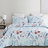 queen quilt birds - Vaulia Lightweight Microfiber Duvet Cover Set, with Zipper Closure, Blue with Birds Pattern - Queen Size