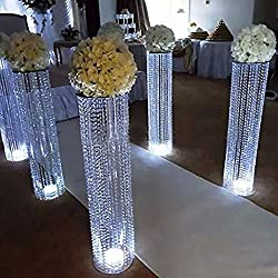 EVERBON Pack of 4 31.5 inches Tall Wedding Flower Chandeliers Flower Stand with Acrylic Bead Pendants for Wedding Table Centerpiece Wedding Aisle Road Lead Party Decoration