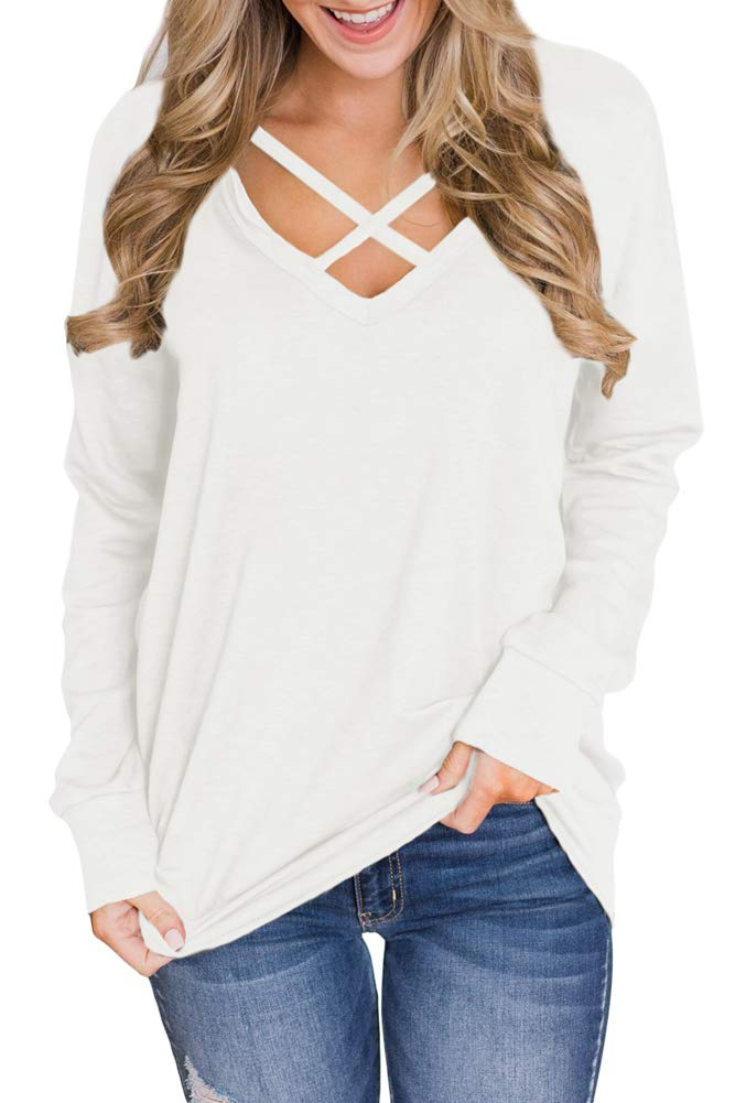 Womens Oversized Long Sleeve Criss Cross Front Shirtss Deep V Neck Casual Tunic Topss Oatmeal M
