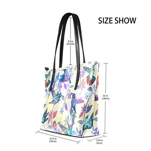 COOSUN Hand Draw Kolibris Tropical PU Leder Schultertasche Handtasche und Handtaschen Tasche für Frauen
