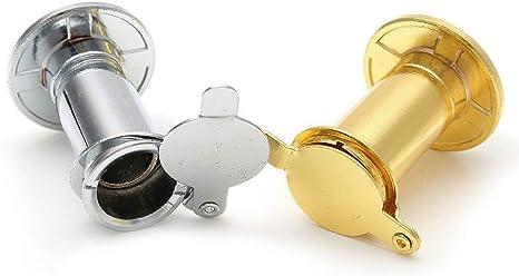 Oro Visor de Puerta Hardware Lente Mirilla 200 Grados Aleaci/ón de Zinc Cubierta de privacidad Antirrobo Casa Gran Angular Ojo Duradero Esp/ía Ajustable Seguridad para el hogar