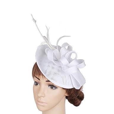 ff6e54675ce08 Women Bridal Imitation Sinamay Fascinators Kentucky Derby Headwear ...