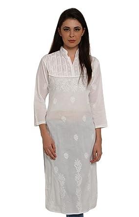e81349b865 Indiankala4u Ladies Dresses Tops Kurti Cotton Long Kurta Hand Embroidery  Handmade Lucknow Chikankari for Women: Amazon.in: Clothing & Accessories