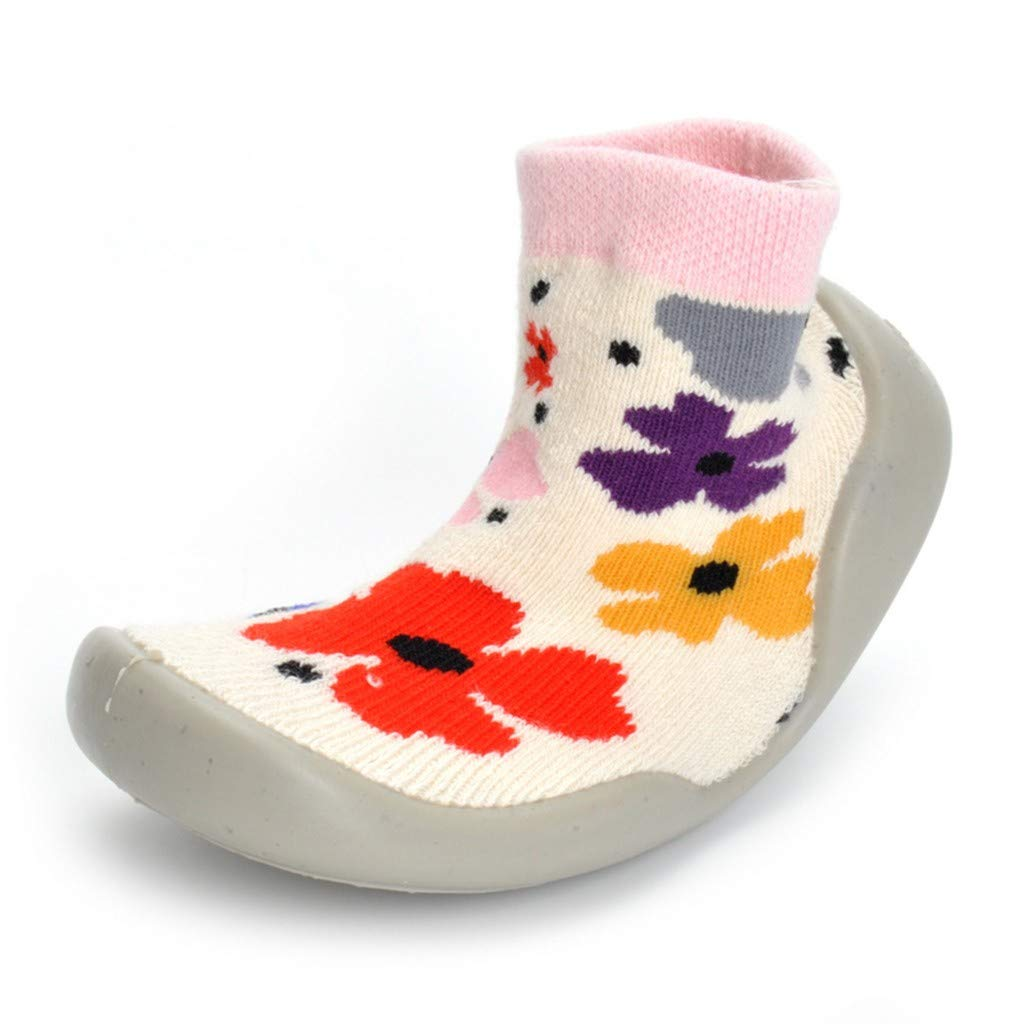 residentD ✮Baby Infant Prewalker Socks,Toddler Warm Floral Rubber Bottom First Walkers Casual Shoes