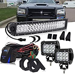 DOT 22 Inch 120W Curved LED light bar + 2PCS 4 In 36W Triple Row Cube Pods Driving Lights + Horizontal Bull Bar Tube Clamp Mounting Kit 1/1.5/1.75/2 W/Rocker Switch DT Connector Wiring Harness