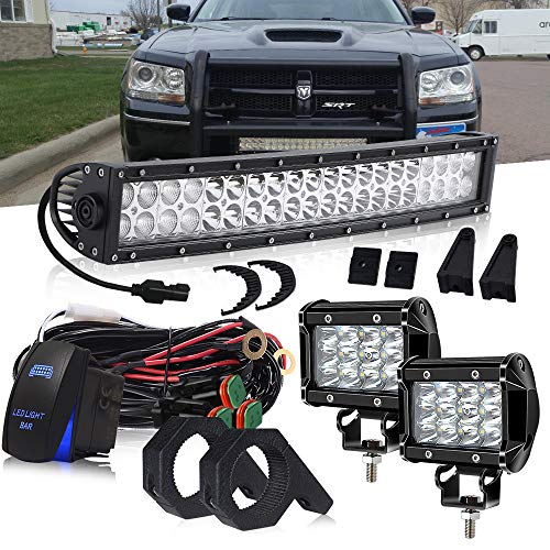 "DOT 22 Inch 120W Curved LED light bar + 2PCS 4 In 36W Triple Row Cube Pods Driving Lights + Horizontal Bull Bar Tube Clamp Mounting Kit 1""/1.5""/1.75""/2"" W/Rocker Switch DT Connector Wiring Harness"