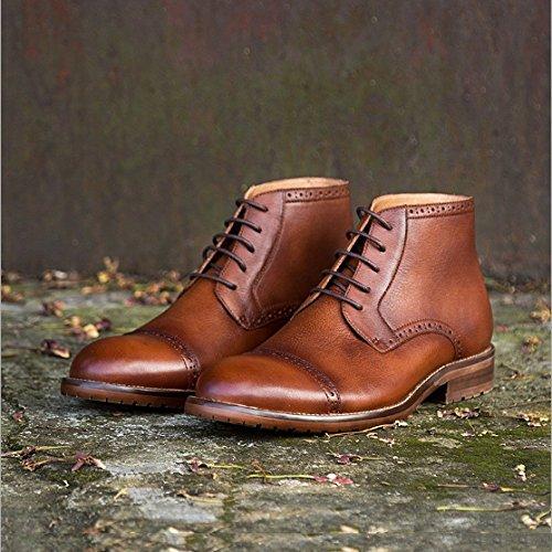 Scarpe Inghilterra Moda Aiuto Stivali Scarpe Vintage Martin NTUMT Tooling Alto Stivali Medio Autunno Brock Brown gpxnwqE