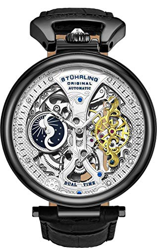 Stührling Original Mens Skeleton Watch Dial Automatic Watch with Calfskin Leather Band and - Dual Time, AM/PM Sun Moo