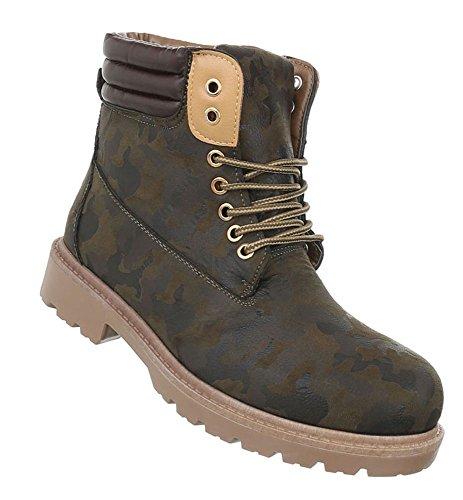 Damen Herren Unisex | leicht Gefütterte Stiefeletten | Outdoor Worker Boots | Profilsohle Winterschuhe | Schnürstiefel Outdoor |Übergang Schuhe Übergrößen | Schuhcity24 Khaki 2