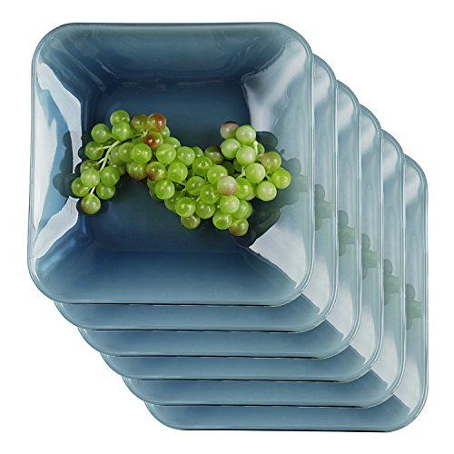 Anchor Hocking Coastal Blue 10.5 Inch Square Plate, Set of 6