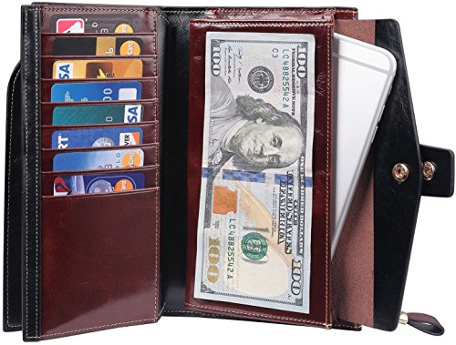 Travelambo Womens RFID Blocking Large Capacity Luxury Waxed Genuine Leather Clutch Wallet Multi Card Organizer (coffee) by Travelambo