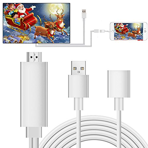 Lightning to HDMI Adapter Cable, Elegant Choise Lightning Digital AV Adapter 1080P on TV Projector for iPhone 8 8 Plus 7 7 Plus, iPad Air/Mini/Pro, iPod Touch 5th /6th (Silver)