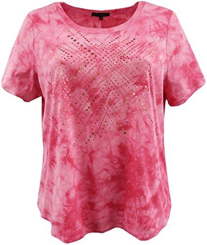 BNY Corner Women's Plus-Size Tie Dye Metallic Foil Design Fashion Blouse Tee Shirt Top Pink 1X G160.48L-2 ()