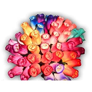 2 Dozen (24) Wooden Roses Colorful Arrangement in Sleeve New 108