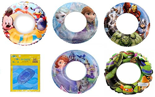 Last Minute Mom And Baby Costumes (Avengers Mickey Mouse Ninja Turtles Elsa Anna Frozen Sofia Disney Nickelodeon Character Pool Toys Inflatable Swim Ring Tube Toy for Kids Boys Girls Party Pack with BLUE Pool Boat Float Raft)