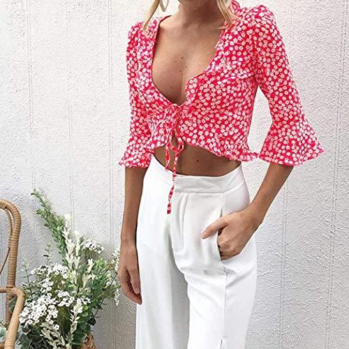 Et Taille Dame Femme Festive Bowknot Battercake Fashion Blanc Tops Manches Grande avec Shirt Elgante Casual Vintage Haut Chemise Cou Fleur Courtes Motif V Blouse FEnPSBxn