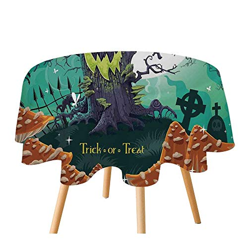 C COABALLA Halloween Decorations Polyester Round Tablecloth,Trick or Treat Dead Forest with Spooky Tree Graves Big Kids Cartoon Art for Home Restaurant,70.8