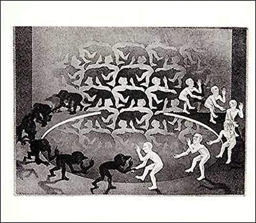 Pyramid America M.C. Escher Encounter Optical Illusion Fantasy Lithograph Poster 25.5x21.5 inch