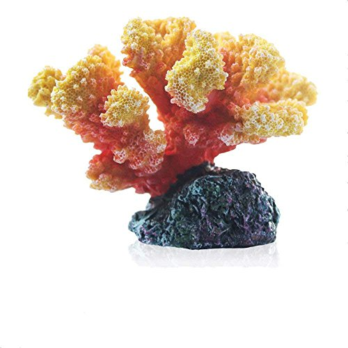 Danmu 1pc Polyresin Coral Ornament for Fish Tank Aquarium Decoration (Orange)
