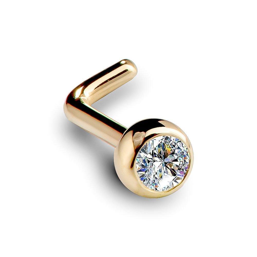 SI1 2.5mm 0.06ct. t.w. Diamond Dome Bezel Set Diamond 14K Yellow Gold L-Shape Nose Ring 18G