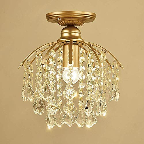 Wapipey American Minimalist Maple Leaf Clear Crystal Ceiling Pendant Chandeliers Light Gold Modern Luxurious Flush Mount Hanging Lights Iron Fixture For Kitchen Dining Living Room Bedroom Aisle Foyer,