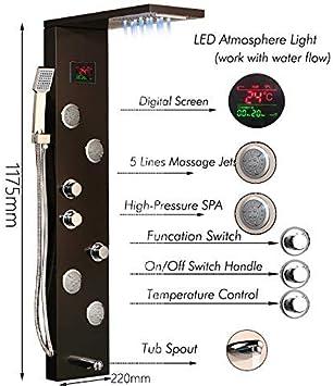 XZ Panel de ducha LED para el hogar Sistema de masaje corporal ...