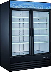 New Double Door Upright Commercial Display Freezer - Large Capacity Glass Door Merchandiser Freezer 45 CU Ft.