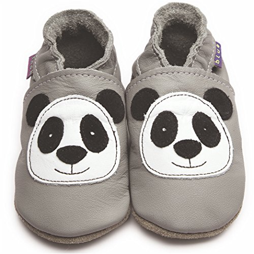 Inch Blue Mädchen/Jungen Schuhe für den Kinderwagen aus luxuriösem Leder - Weiche Sohle - Panda Grau
