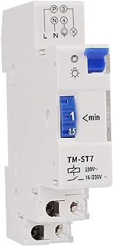 Ballylelly para TM-ST7 220V 7 Minutos Temporizador mecánico 18mm Módulo único Temporizador de Escalera en Carril DIN Instrumentos de Interruptor de Tiempo: Amazon.es: Electrónica