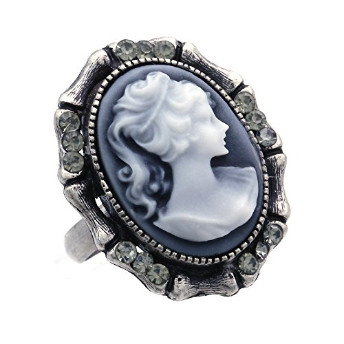 Soulbreezecollection Gray Cameo Ring Adjustable Size Band Women Lady Fashion Jewelry