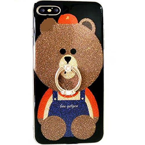 iPhone 6 Plus Case Bling Diamond,Auroralove iPhone 6s Plus Case Cute Bear Luxury Soft TPU iPhone 6s Plus Case with Ring Stand for Girls Women(Brown)
