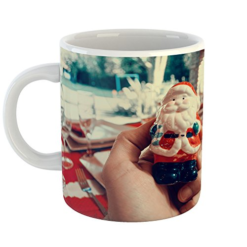 Cup Ceramic Man Figurine Holding (Westlake Art - Christmas Decoration - 11oz Coffee Cup Mug - Modern Picture Photography Artwork Home Office Birthday Gift - 11 Ounce (7E51-8900C))