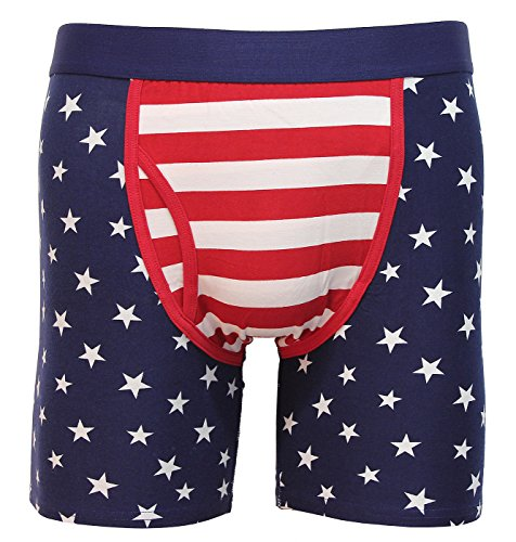 America USA U.S.A. American Flag Men's Stretch Cotton Boxer Brief 1 Pair (Small) (Cotton Flags Confederate)