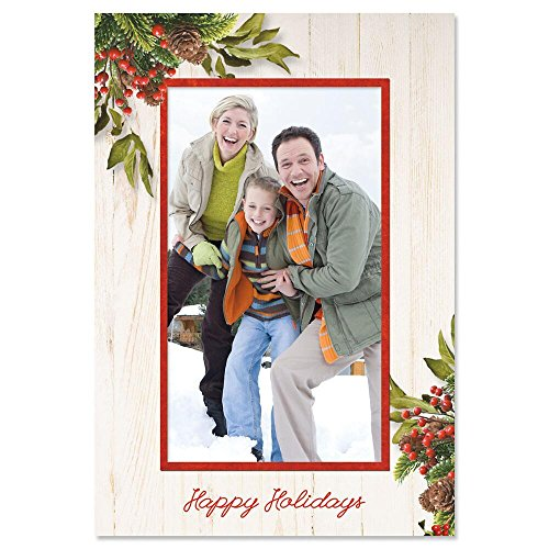 - Holiday Greens Photo Sleeve Christmas Cards - Set of 18