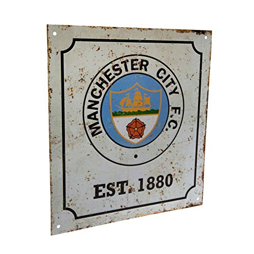 Manchester City FC Official Retro Logo Sign (One Size) (White)]()