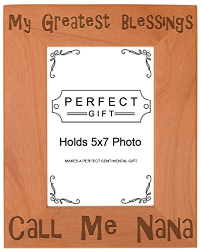 ThisWear Gift Grandma Blessings Call Me Nana Natural Wood Engraved 5x7 Portrait Picture Frame Wood