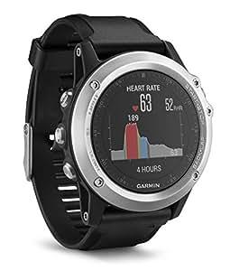 Garmin Fenix 3 HR - Reloj multideporte con GPS y sensores ABC, con pulsómetro en la muñeca, color Plata/Correa Negra, Talla única