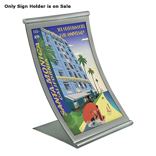 Holder Metal Sign Curved (Vertical Curved Metal Counter Sign Holder in Silver Construction 8.5