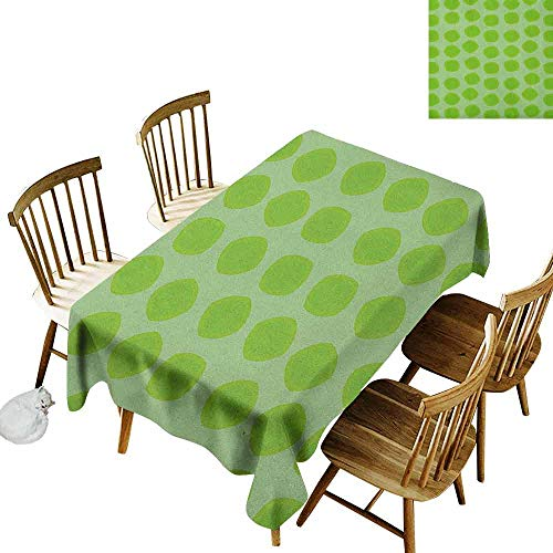 DONEECKL Lime Green Home Decoration Tablecloth Anti-Overflow Tablecloth Simplistic Formless Geometric Shapes in Different Shades Kids Nursery Theme Almond Green W52 xL70