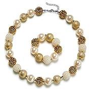 Vcmart Little Girls Chunky Bubblegum Beaded Necklace & Bracelet set,15.7