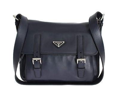 74ee1e1e5f31 Amazon.com: Prada Soft Baltic Blue Calfskin Leather Messenger Bag BT953L:  Shoes