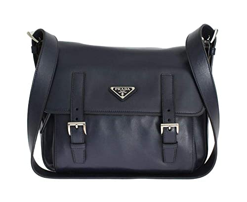 53221a30f47 Image Unavailable. Image not available for. Color  Prada Soft Baltic Blue  Calfskin Leather Messenger Bag BT953L