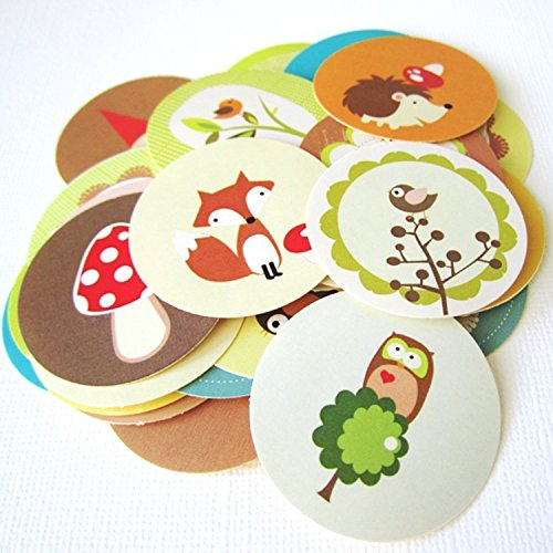 Woodland Animals and Gnome Stickers Label, Party Favors Gift Wrapping and Envelope Seal - Set of 50 Gnomes Sticker