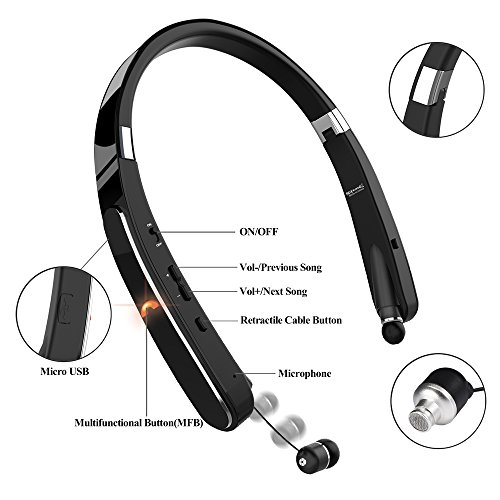 Bluetooth Headset, Bluetooth Headphones-LBell 30 Hrs Playtime Wireless Neckband Design W/Foldable Retractable Headset for Cellphones Like iPhone X/8/7 Plus Samsung Galaxy S9 Note 8 (Black)