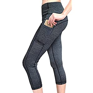MYoga Women's Yoga Pants Workout Capri Leggings Running Tights w Side Pockets (M, Dark Gray)