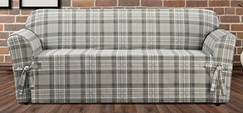 Sure Fit Highland Plaid 1-Piece  - Sofa Slipcover  - Gray (SF46424) (Plaid Sofa Sets)